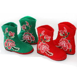 chinese traditional shoes 2019 - 2018 Newest Baby Girls Boots Embroidered Rose Red Green Children Boot Chinese Traditional Festival Cotton Handmade Shoe
