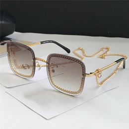 Chain sunglasses online shopping - New fashion designer sunglasses Chain square frameless connecting lenses uv400 protection eyewear popular selling sunglasses
