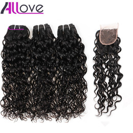 brazilian human hair for weaving Australia - Best 10A Brazilian Hair Water Wave With Lace Closure 3Bundles With Closure Wet And Wavy Human Hair Extensions For Black Women Wholesale