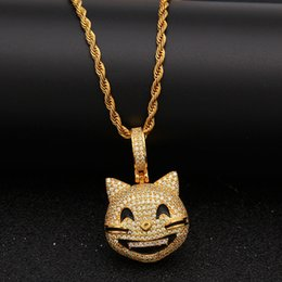 $enCountryForm.capitalKeyWord NZ - Iced Out Custom Happy Cat Face Pendant Necklace Bling Bling Cubic Zircon Men's Hip hop Jewelry
