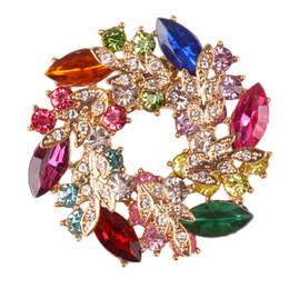 $enCountryForm.capitalKeyWord Australia - 24PCS Lot Wreath Women 's Brooch Pin With Fashion Jewelry Fancy Vintage Rhinestone Crystal Bauhinia Flower Brooch silk scarf buckle jewelry