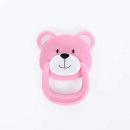 bear dolls UK - 2 pcs Cartoon Bear Pacifier Blue or Pink Plastic PVC Reborn Baby Doll Accessories Fit For Magnetic Mouth Doll Nipple Hot Sale
