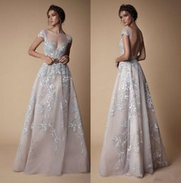 Chinese  Berta 2018 Prom Dresses Bateau Neck Backless Lace Evening Gowns Long Floor Length A Line Formal Wear manufacturers
