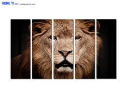 $enCountryForm.capitalKeyWord Australia - Large Contemporary Hot Sale 5 Panel Art Wall Animal Lion Head oil painting Picture Printed on canvas for Living Room Bedroom Home Decor