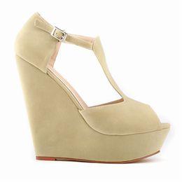 sandals cover toes heel 2019 - LOSLANDIFEN T-Strap Summer Women Sandals Peep Toe Flock Fashion Platform High Heels Shoes Ladies Buckle Wedges Sandals 3