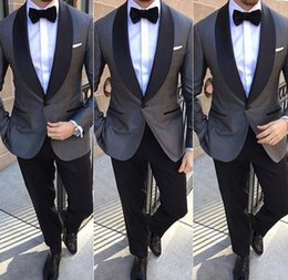 Tie For Gray Suit NZ - New Arrival Classic Gray Groomsmen Suits Two Pieces Men Prom Party Suit Custom Made Slim Fit Cheap Wedding Suits for Men (Jacket+Pants+Tie)