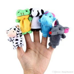 Discount puppets - Wholesale-10 Pcs Child Puppet Finger Doll Portable Cartoon Zoo Animal Finger Puppets Plush Toys Dolls Baby Kids Educatio