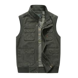 Khaki Tactical Vest NZ - AFS Men Waistcoat Army Tactical Many Pockets Vest Sleeveless Jacket Plus Size 6XL 7XL 8XL big Male Travel Coat