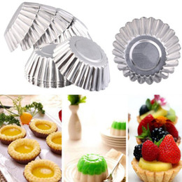 cookies pan NZ - Egg Tart Aluminum Cupcake Cake Cookie Flower Mold Mould Tin Baking Pan Tool