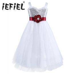 $enCountryForm.capitalKeyWord UK - Kids Summer Clothes Girls Bridal Princess Dress Sleeveless Sequined Flowers Girls Dresses with Sashes for Wedding Evening Party