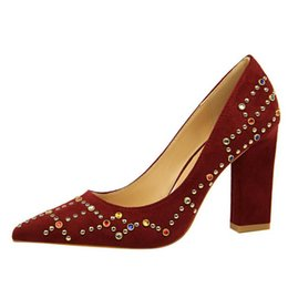 $enCountryForm.capitalKeyWord UK - Burgundy Mother Shoes Colored Rhinestone Chunky Heel Pointed Sexy Evening Party Prom Shoes Pumps High Heel Lady Shoes