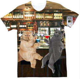 funny drinking shirts women Australia - New Fashion Couples Men  Women Unisex Funny 3D Print Drinking Cat Casual T-Shirts QW175