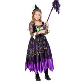 Fashion Witch Costume For Girl Fantasias Kids Fancy Dress Lovely Baby Girls  Halloween Carnival Party Costumes Cosplay Dress 2018