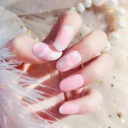 $enCountryForm.capitalKeyWord NZ - new 24pcs set petals light pink color round resin Nail Art False Fake Nail Tips With a tube of Glue finished nails high quality