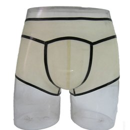 Exotic briEfs online shopping - 2018 New design men Transparent Handmade spliced Latex Fetish Exotic male Underwear cekc zentai Briefs Shorts