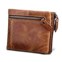 Discount leather clutch bags for men - Genuine Leather Men Wallets Clutch Male Vintage Hasp Slim RFID Wallet Short Coin Purse Men Card Holder Clamp for Money b