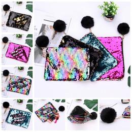 69d3ceeee68f Mermaid Sequin Makeup Bag Black Fur Ball Zipper Pouch Pencil Bags Portable  Glitter Reversible Sequin Cosmetic Bag Coin Purses GGA1358