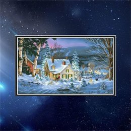 Discount christmas room spray - Diy Manual Christmas Diamond Painting Living Room Snow Scene Cross Stitch Drilled Picture Decorative Paintings Embroider
