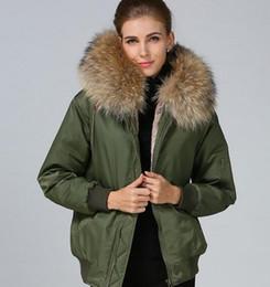 $enCountryForm.capitalKeyWord Australia - Meifeng brand brown raccoon fur trim ladies snow coats brown rabbit fur lining army green bomber nylon jackets