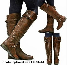$enCountryForm.capitalKeyWord NZ - feminino women boots knee high vintage PU leather shoes woman cross-tied lace up gladiator booties girls chaussure