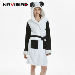 2baba17cab Japanese Winter Hooded Animal Panda Robes For Women Flannel Sexy Kimono Robe  Unicorn Bathrobe Women Sleepwear Nightgown