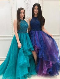 Discount lilac high low skirt - Newest High Low Prom Dresses Halter Sequins Beaded Tiered Organza Skirt Sparkly Backless Prom Dresses Graduation Dresses