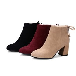 $enCountryForm.capitalKeyWord UK - Favofans Hot Sale Womens Ladies Solid Color Square Toes Shoes Chunky Heel Zip Ankle Boots FF-B906 Size Customized