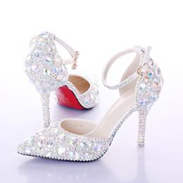 Wholesale newest crystal rhinestone Shiny high heel female lady's Women Bridal Evening Prom Party club Bar Wedding Bridesmaid shoes