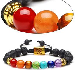 Discount wholesale tree life bracelets - Tree of Life Lava Natural Stone Essential Oil Diffuser Bracelet 7 Yoga Chakra Bracelets Fashion Jewelry for Women Men Gi
