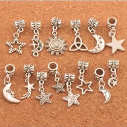 TibeTan silver chrisTmas charms online shopping - Mixed Star Moon Sun Charm Beads Tibetan Silver Dangle Fit European Bracelets DIY Hot sell