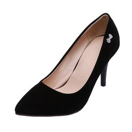 Toed Shoes For Women NZ - SJJH 2018 Faux Suede Pumps with Pointed Toe and Stiletto Heel Elegant Working OL Shoes for Fashion Women with Large Size Available A124