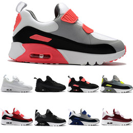 Air Sports Shoes Black Red Canada - Zoom Air KTINY 90 V2 Running Shoes Slip-On Children Athletic Shoes Boys Girls Training Sneaker Kids Sports Shoes Black White Red Blue