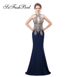 black girls elegant prom dresses UK - Elegant Girls Dress Halter With Appliques Mermaid Satin Long Party Formal Evening Dresses for Women Prom Dress Gowns