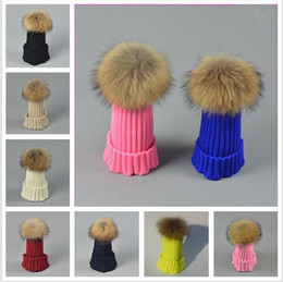 acrylic hats wholesale NZ - Quality Designer Childrens 100% Real Fur Ball Winter Warm Hats 15CM Pom Kids Rib Knit Acrylic Slouch Beanies Fancy Sports Baby Snow Cap Gift