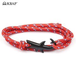 Black Shark Hook Bracelets De Charme Nautique Marine Survie Corde Bracelets Bracelets Amitié Favor Cadeaux pour Femmes Hommes Garçons en Solde