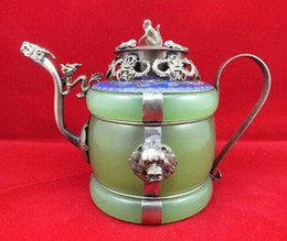 china dragon art Australia - Chinese old Tibetan silver Dragon Lion Green jade Cloisonne teapot Monkey Lid wholesale factory Arts outlets