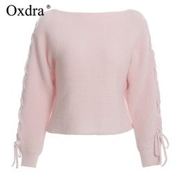 China Oxdra 2018 Pullovers Sweater Loose O Neck Solid Lace up Sweaters Warm Hollow Out Knit Women's Clothing Autumn Winter For Ladies supplier knitted neck warmers for women suppliers