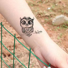$enCountryForm.capitalKeyWord Canada - 1pc Cute Owl Arm Fake Transfer Tattoo Sexy Large Temporary Tattoos Sticker Men Women Body Art 105*60mm