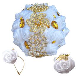 Bridal Bouquet riBBons online shopping - White Rose Bridesmaid Wedding Foam flowers Rose Bridal bouquet Ribbon Fake Wedding bouquet Customized Bridal Bouquets set T0273