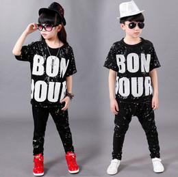 shirts for girl kids 2019 - Boys Girls Short Sleeve Sequin Ballroom Modern Jazz Hip Hop Dance Competition Costume for Kid Clothing T shirt Top Pants