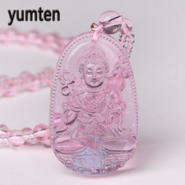 chinese zodiac jewelry NZ - Yunten Natural Rose Quartz Necklace Women's Guard Buddha Pendant Chinese Zodiac Bead Chain Joker Jewelry Pendentif Bouddha Gift