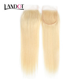 9A Bleach Blonde Color 613# Brazilian Straight Virgin Human Hair Top Lace Closures Peruvian Malaysian Indian Cambodian Hair Swiss Closures on Sale