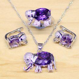 purple elephant necklace 2019 - set family Elephant Shaped Purple Cubic Zirconia White CZ 925 Sterling Silver Jewelry Sets Women Earrings Pendant Neckla