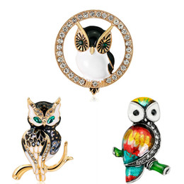 $enCountryForm.capitalKeyWord NZ - Fashion Rhinestone Crystal Enamel Brooch Clothes Accessories Night Owl Insect Brooches Jewelry Pins For Suit Dress free ship