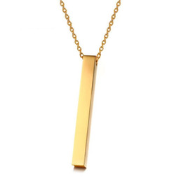 Wholesale Engravable Sided Stainless Steel Vertical Dainty Vertical Bar Necklace Gift Best Friend Mother