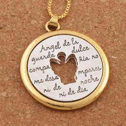 Gold plated anGel chain online shopping - Religious Jewelry Two Tone Hollow Angel De Li Guanda Dulce Pendant Necklace x38mm Pendants N1777 inches Chain