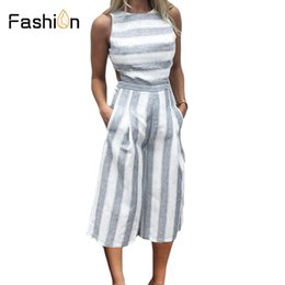 9a999ab55fed 2018 Striped jumpsuit Rompers for Women Overalls Ladies Loose Calf Length  Wide Pants for Woman Jumpsuits for Girls Cut-out Waist
