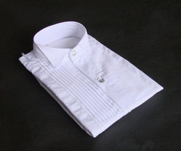 Wholesale white shirts resale online - Top Quality White Cotton Long Sleeve Groom Shirt Men Small pointed collar fold Formal Occasions Dress Shirts