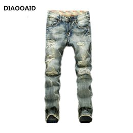 Male green jeans online shopping - 2018 Fashion Brand Men Casual Denim Ripped Jeans Straight Blue Pop Slim Vintag Male Quality Comfortable Hold Denim Trousers