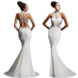Wholesale 2018 New Luxury white Prom Dresses red black Mermaid V Neck Sexy African Prom Gown backless Special Occasion Dresses Evening Wear long skirt